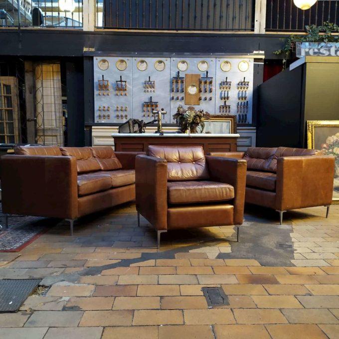 3 fauteuils cuir style knoll