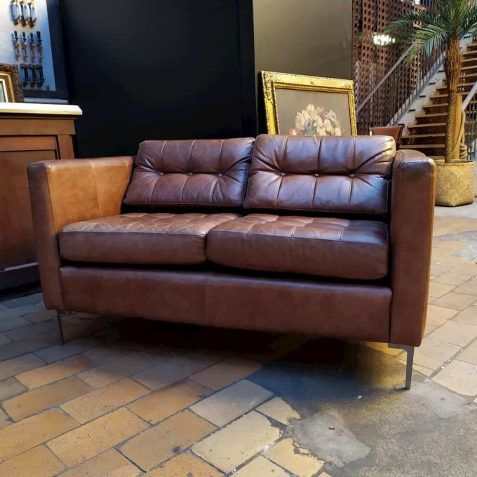 Fauteuil cuir 2 places style knoll