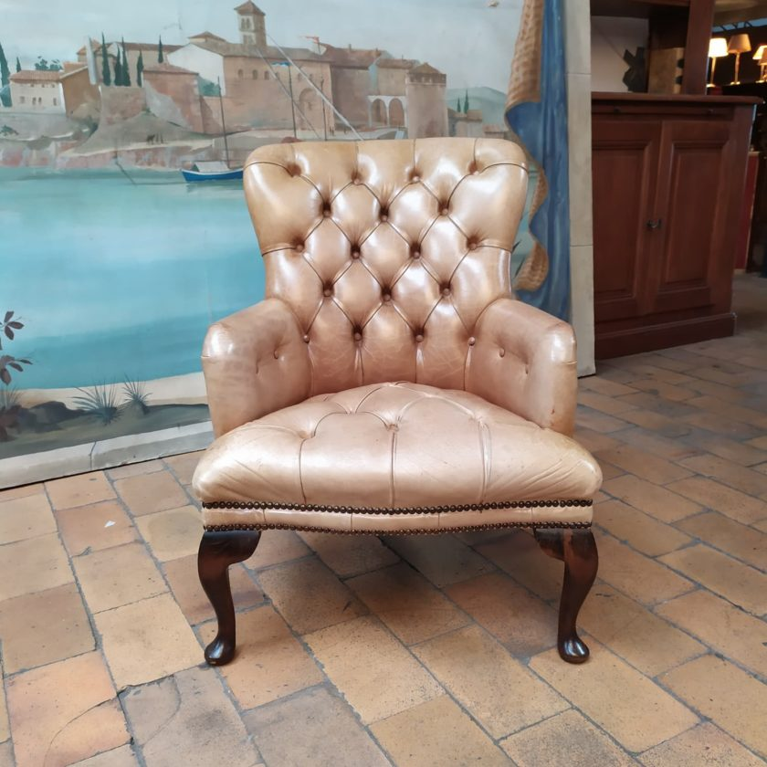 Fauteuil chesterfield chippendale face