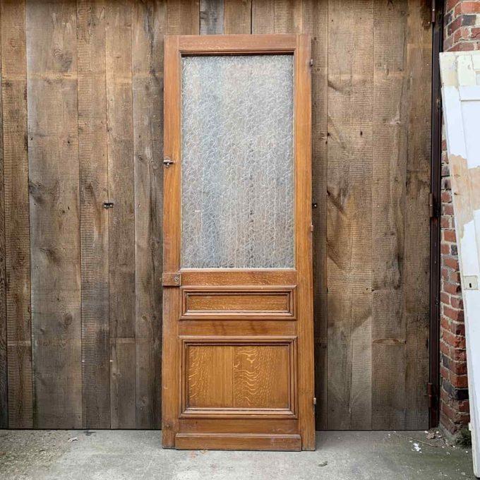 Porte vitrée ancienne en chêne, 90x202cm.
