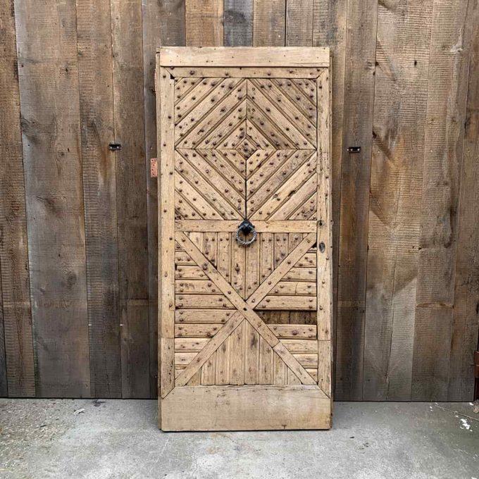 Porte d'entrée ancienne en chêne avec bâti, 90x202cm.