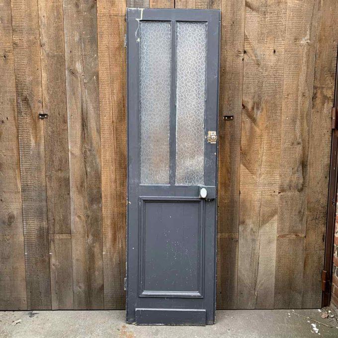 Porte de séparation vitrée ancienne, 64x221cm.