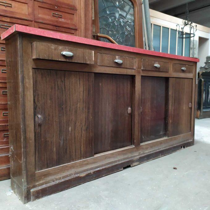 Arrière bar ancien, 114x230x30cm.