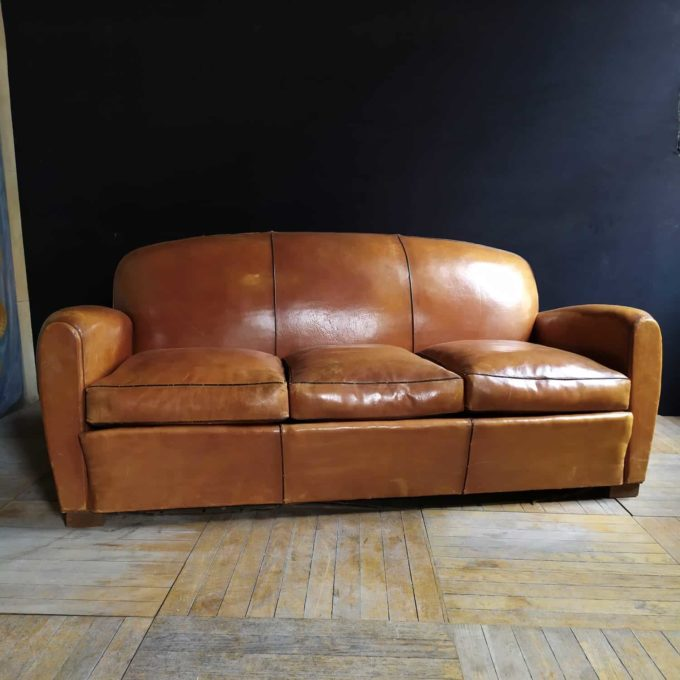 Canapé club en cuir, 190x87x57cm.