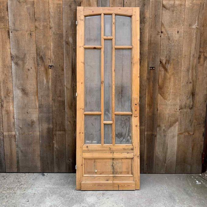 Porte vitrée ancienne, 225x77cm.