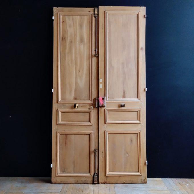 Double porte Haussmannienne en chêne décapée