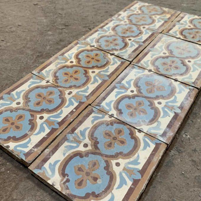 Frise de carreaux de ciment orange et bleue, 14,3x14,3cm