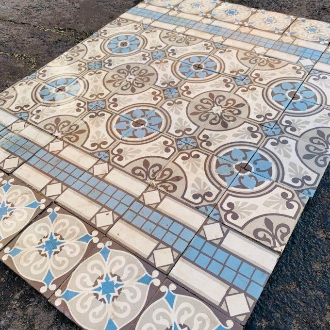 Carreaux de ciment bleu et blanc 1
