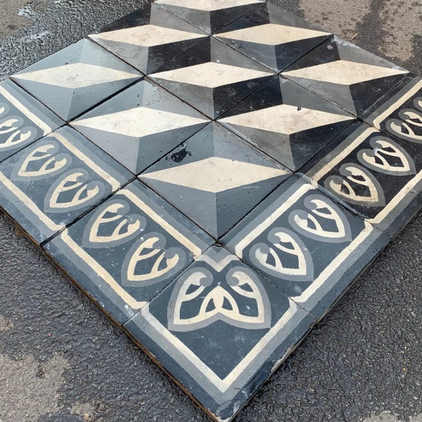 black and white cubic cement tiles