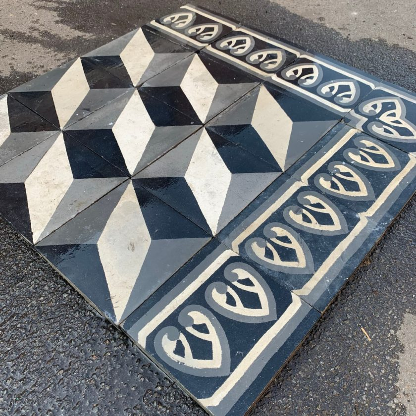 black and white cubic cement tiles details
