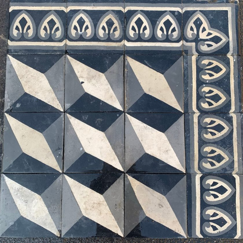 black and white cubic cement tiles zoom